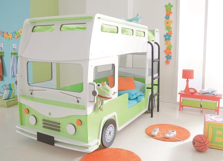 Lits Superposés Enfant 90x190/200 en forme de bus. Les enfants adoreront dormir dans ce lit superposé original aux formes rondes. #litsuperposé #litenfant