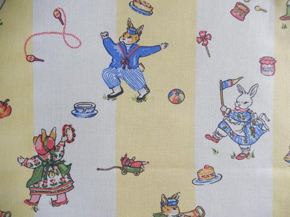 Laura Ashley fabric 2 remnants 1993 bunnies playing