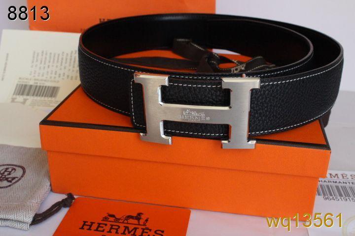 Hippe met Zilver H Gesp Zwart Leren Riem Hermes Heren For sale