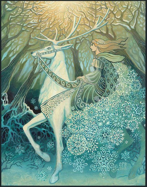 Snow Queen ACEO Winter Solstice Goddess Altar Art by EmilyBalivet, $3.00