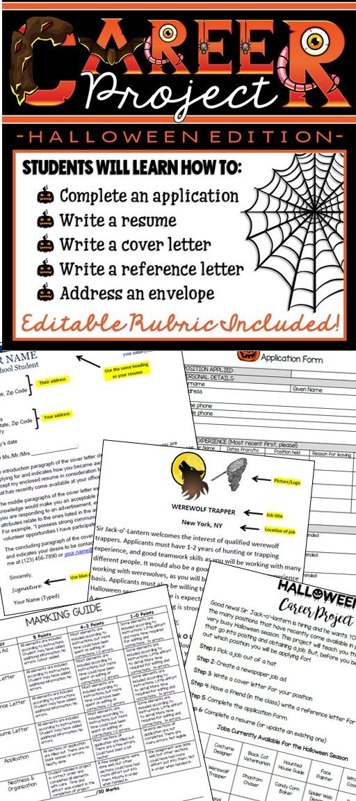 This is a fun way for students to learn basic skills and requirements for a job or career. This is also a great way to bring the Halloween spirit into the classroom while completing course requirements in a creative way. Students will select a job at random (a list has been provided) and then complete a variety of tasks highlighting skills for that position.