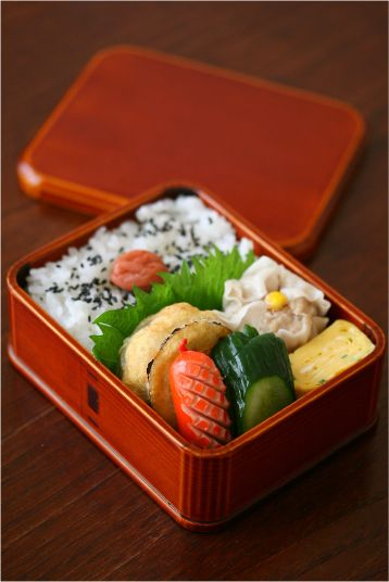 Japanese Bento Box Lunch (Eggplant Tempra, Shumai Pork Dumpling, Cucumber Pickles, Rice and Umeboshi) by ivory_bell