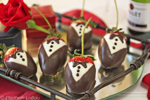 Tuxedo Strawberries are beautiful strawberries decorated with white and dark chocolate to resemble tiny tuxedos. They are the perfect candy for Valentine's Day, weddings, showers, or any formal or romantic occasion.