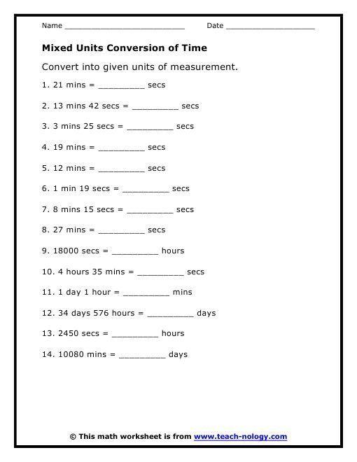 Math Conversion Worksheets 5th Grade 6 [ Time Conversion
