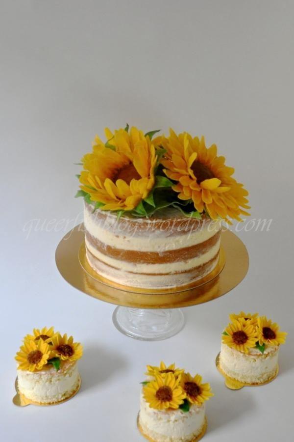 Naked Sunflower Wedding Cake and Mini Cakes - Cake by Lenka M.