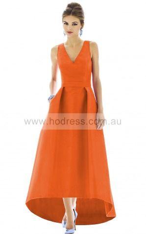 Sleeveless V-neck Zipper Taffeta Floor-length Bridesmaid Dresses zoh021--Hodress