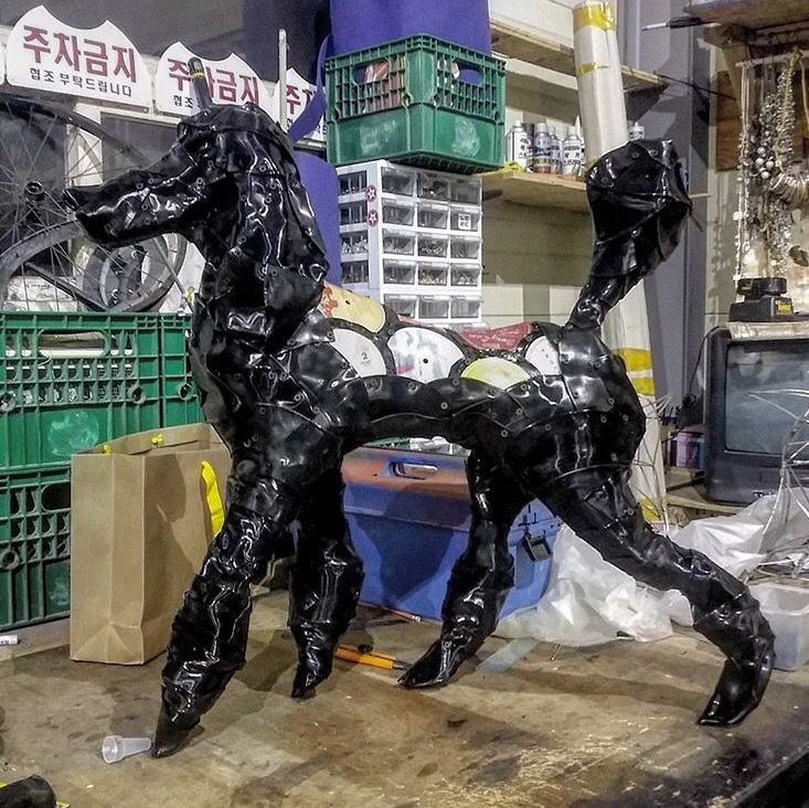 #upcycle art #upcycle sculpture #umalong #longsfactory #record sculpture #poodle www.umalong.com