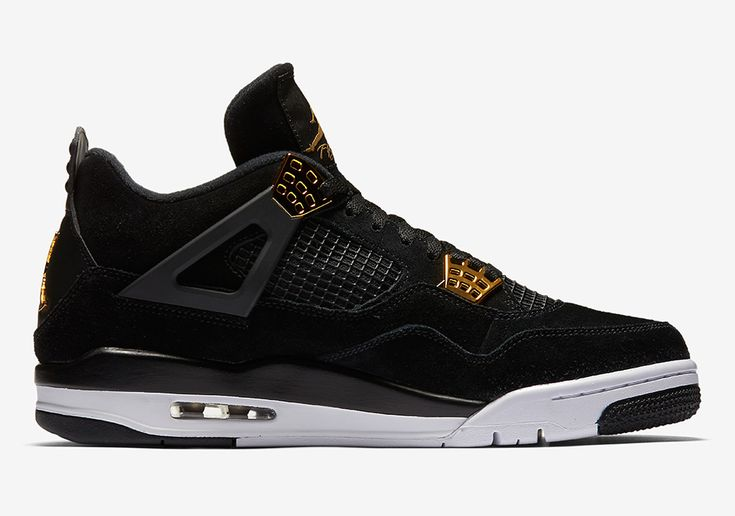 The Air Jordan 4 Royalty (Style Code: 308497-032) will release on February 4th in a full family size run featuring black suede and metallic gold accents.