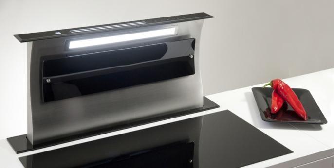 hotte design downdraft ascenceur cuisine rouen paris sdd4 noire 1. Black Bedroom Furniture Sets. Home Design Ideas