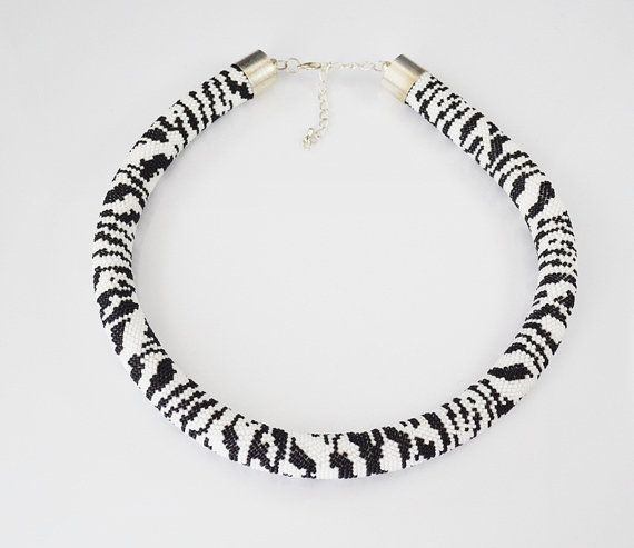 Zebra necklace Black white Seed beads Crochet necklace Glass