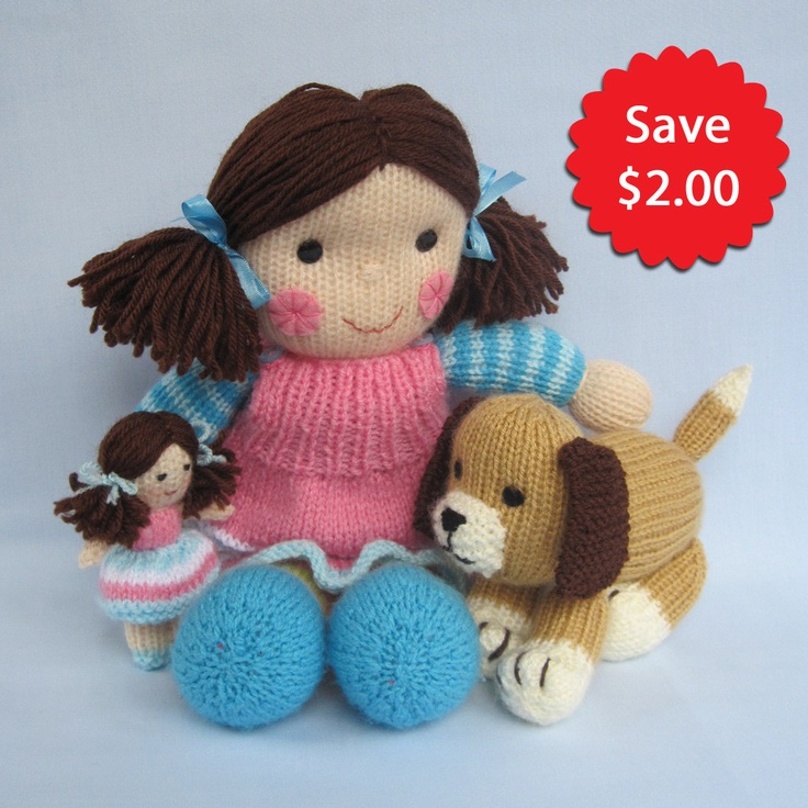 Knitting Patterns For Toy Dogs : Puppy Love - Maisie and Muffin - 2 pattern deal - toy doll and dog knitting p...