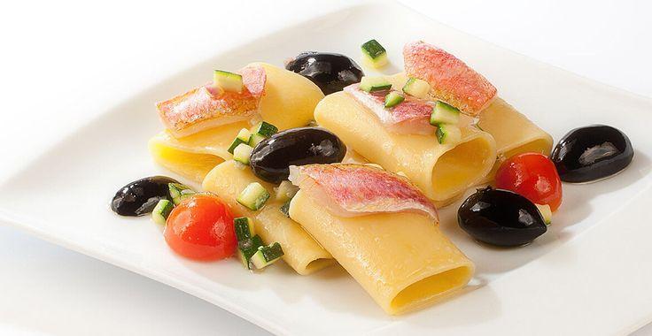 Ricetta Paccheri con triglie e olive Nocellara del Belice DOP - Ricette con le Olive