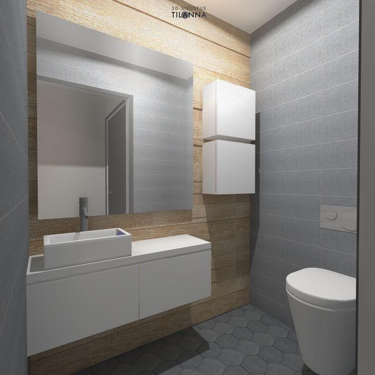 3D-sisustussuunnitelma, Teritalojen malli Moderna 220/ harmaa kuusiokulmalaatta, harmaa seinälaatta, puukuosinen laatta, valkoiset kiintokalusteet/ 3D-sisustus Tilanna