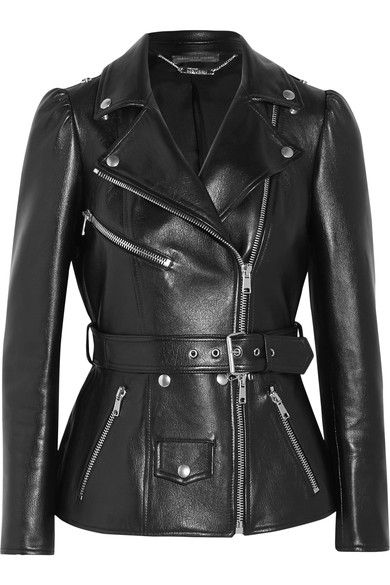 Black leather Asymmetric zip fastening through front 100% leather (Lamb); lining: 100% silk Specialist clean Made in Italy