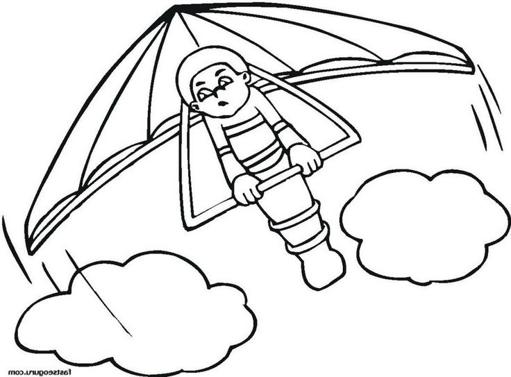 how to draw a hang glider