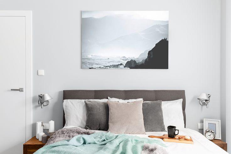 Blue & gray cozy bedroom.