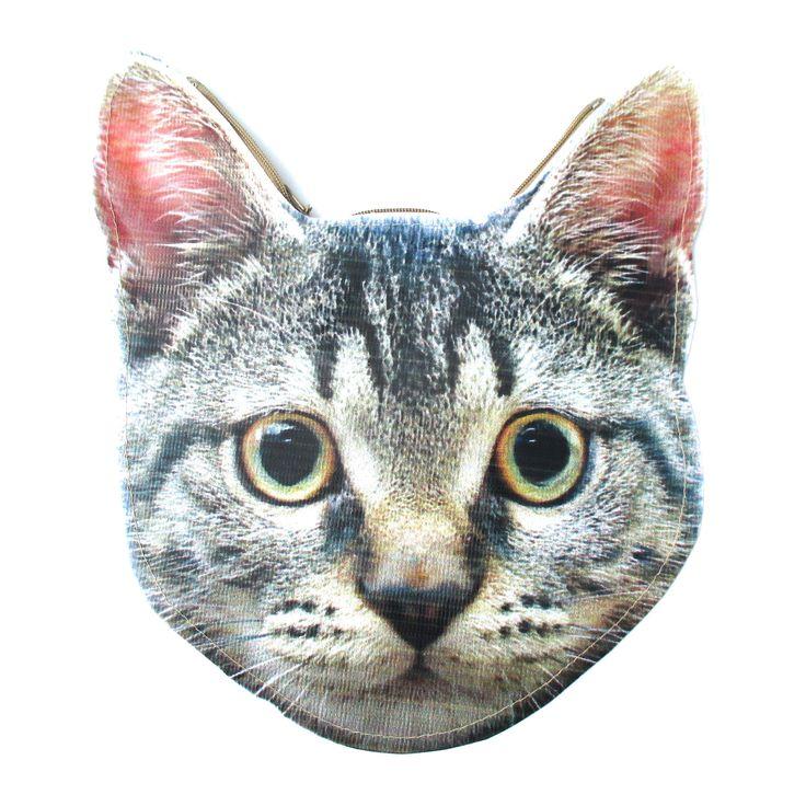 Grey Tabby Kitty Cat Head Shaped Vinyl Animal Photo Print Clutch Bag | DOTOLY $13.99 #fashion #purses #kittens #cats #animals #chic