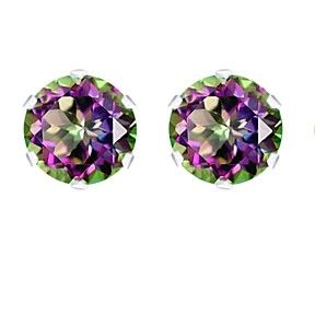 3.00 Ct Round Brilliant Cut Mystic Topaz 14K White Gold Over Stud Earrings $999 by JewelryHub on Opensky