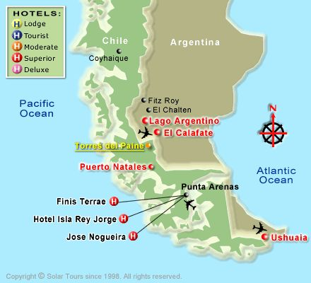 Map of Southern tip of Chile. Punta Arenas, Chile - Google Search