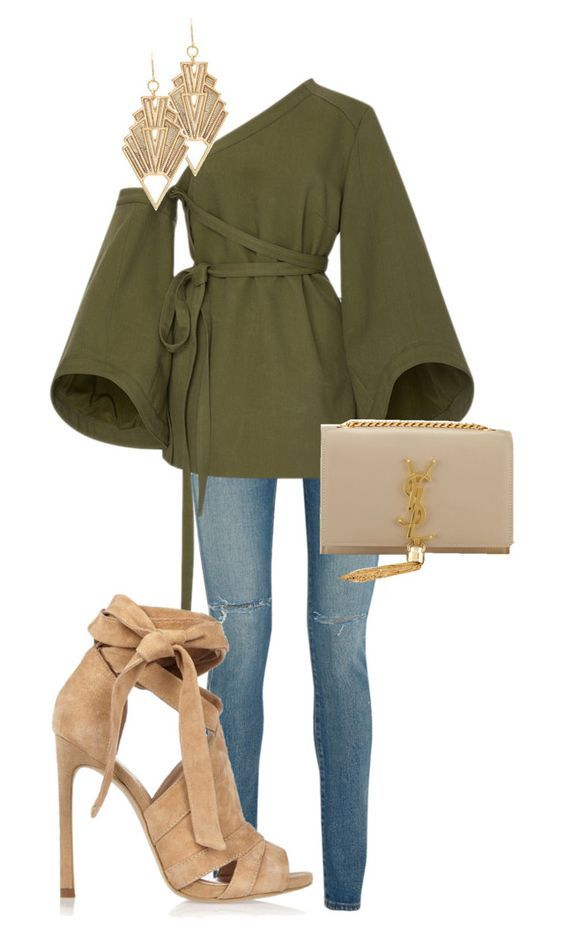 Untitled #65 by miss-grace-ellen on Polyvore featuring polyvore fashion style Rosie Assoulin Yves Saint Laurent River Island Charlotte Russe clothing