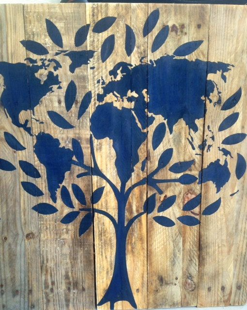 World map tree wooden sign on reclaimed pallet wood by 13AceAvenue, $100.00