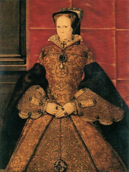 "1554-EXCERPT: 'Mary I. wears a cloth-of-gold gown with fur-lined ""trumpet"" sleeves and a matching overpartlet with a flared collar, probably her coronation robes, 1554. Neither the sleeves nor the overpartlet would survive as fashionable items in England into the 1560s.'"