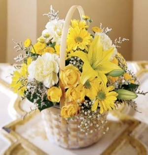 12 yellow roses and carnation, lilies in basket to India
