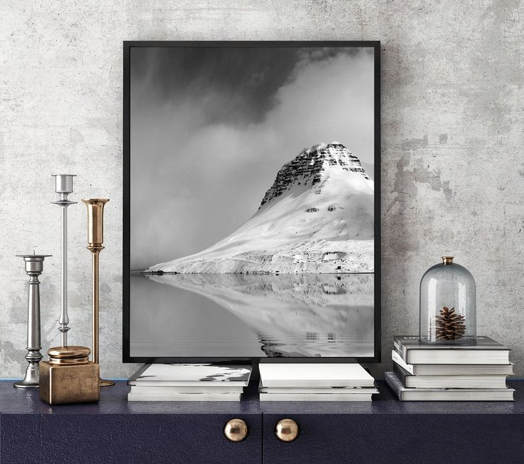 #ICELAND #Fjord #Photography, #BlackandWhite #Art, #WINTER by #JuliaApostolova, #MINIMAL #Print, #IcelandPhotography #Printable, #MountainPrint, #BlackWhite #Photo, #Poster #MinimalArt #WallDecor #OfficeArt #OfficeDecor