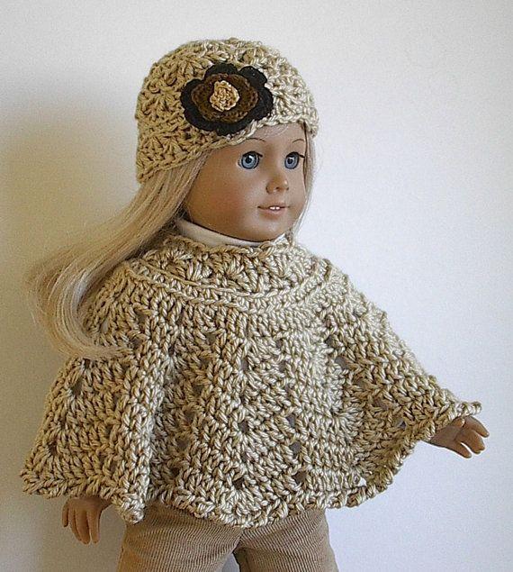 Crocheted Poncho Set for 18 inch American Girl por Lavenderlore