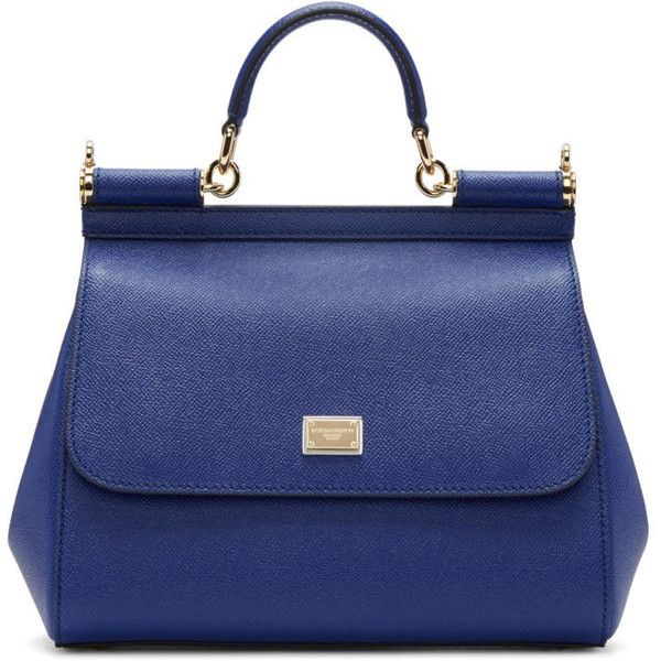 Dolce and Gabbana Blue Medium Miss Sicily Bag (1,995 CAD) ❤ liked on Polyvore featuring bags, handbags, shoulder bags, blue, leopard purse, studded handbags, dolce gabbana handbags, leopard print shoulder bag and structured purse
