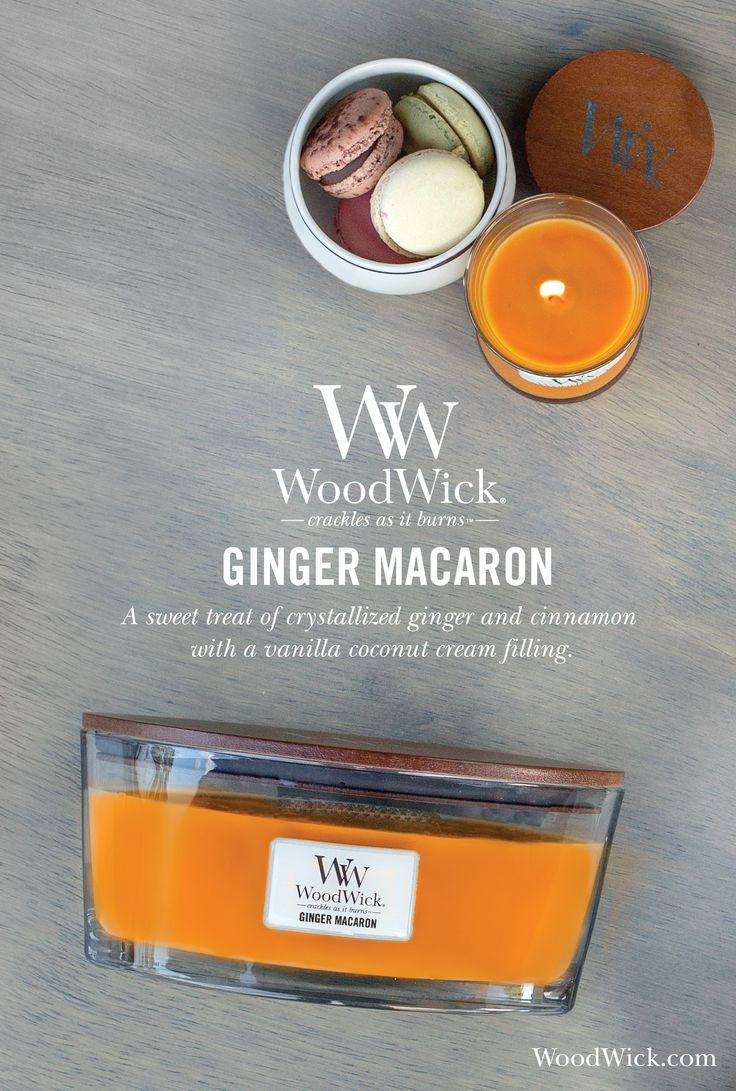 GINGER MACARON by WoodWick®, the natural wooden wick candle that crackles as it burns! A sugary blend of crystallized ginger, cinnamon and a swirl of vanilla coconut cream filling. #ginger #macaron #edible #treats #fragrance #candles #woodwick