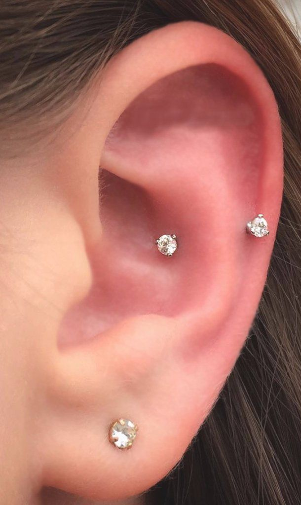 Simple Ear Piercing Ideas - Snug Piercing Jewelry - Swarovski Crystal Curved Barbell 16G - Rook & Daith Earring - MyBodiArt.com