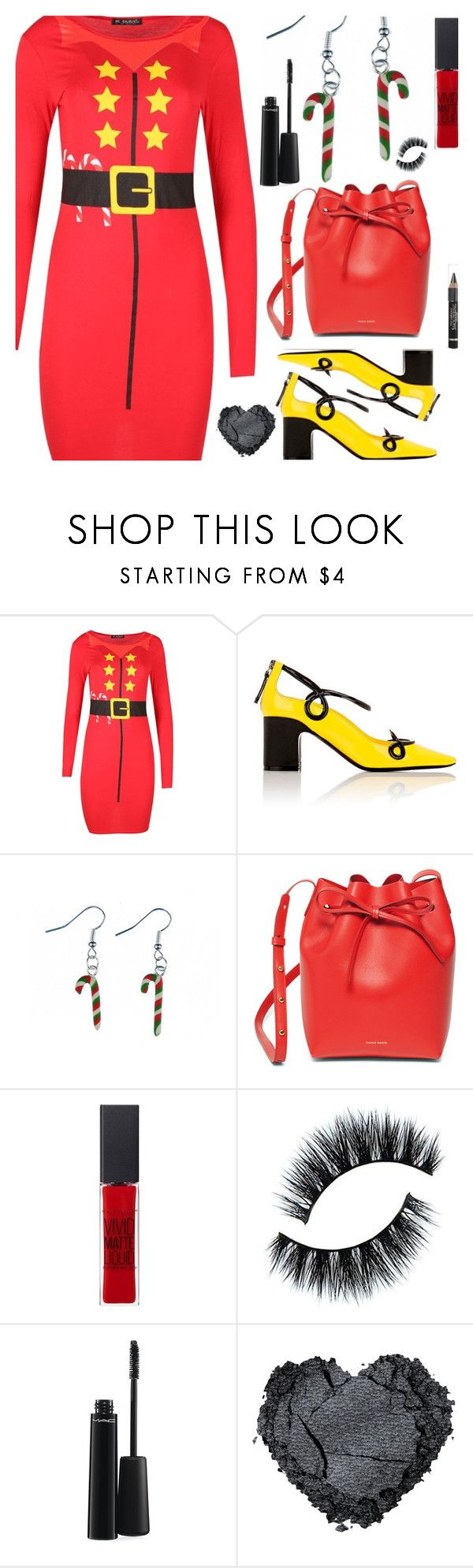 """Christmas Print Dress"" by deborah-calton ❤ liked on Polyvore featuring Fabrizio Viti, Mansur Gavriel, Maybelline, MAC Cosmetics and L'Oréal Paris"