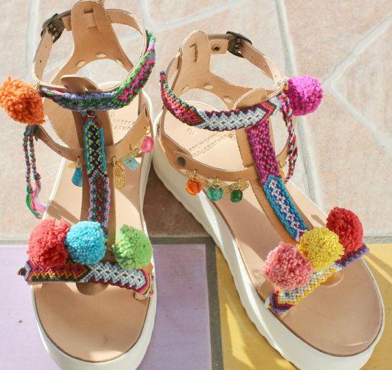 Pompom sandals/ Boho sandals/ Bohemian platforms by EATHINI