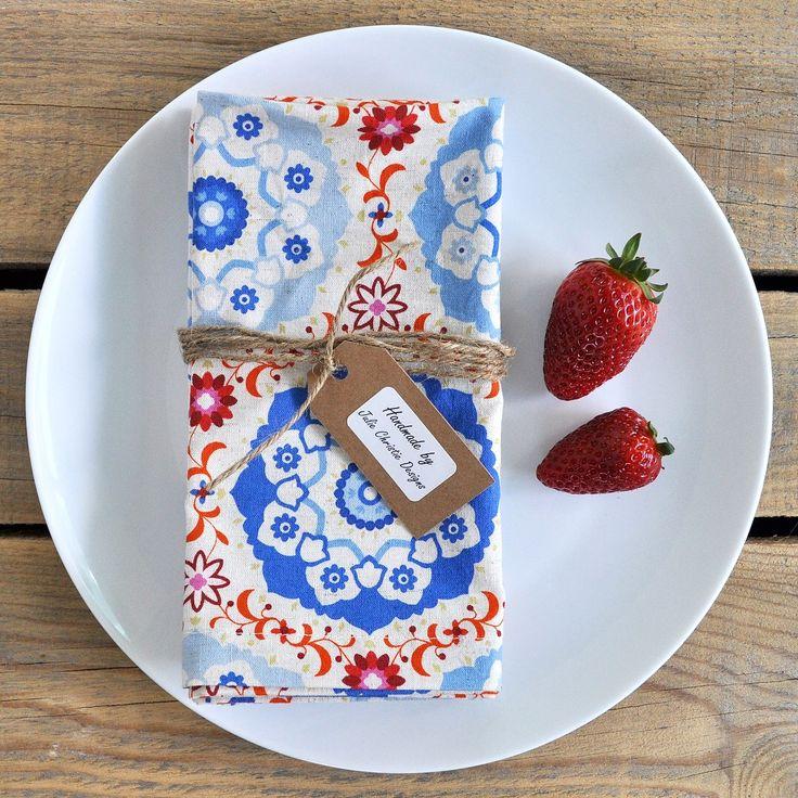 Colourful fun mosaic print reusable cotton linen napkins. Reuse and Reduce 🌏