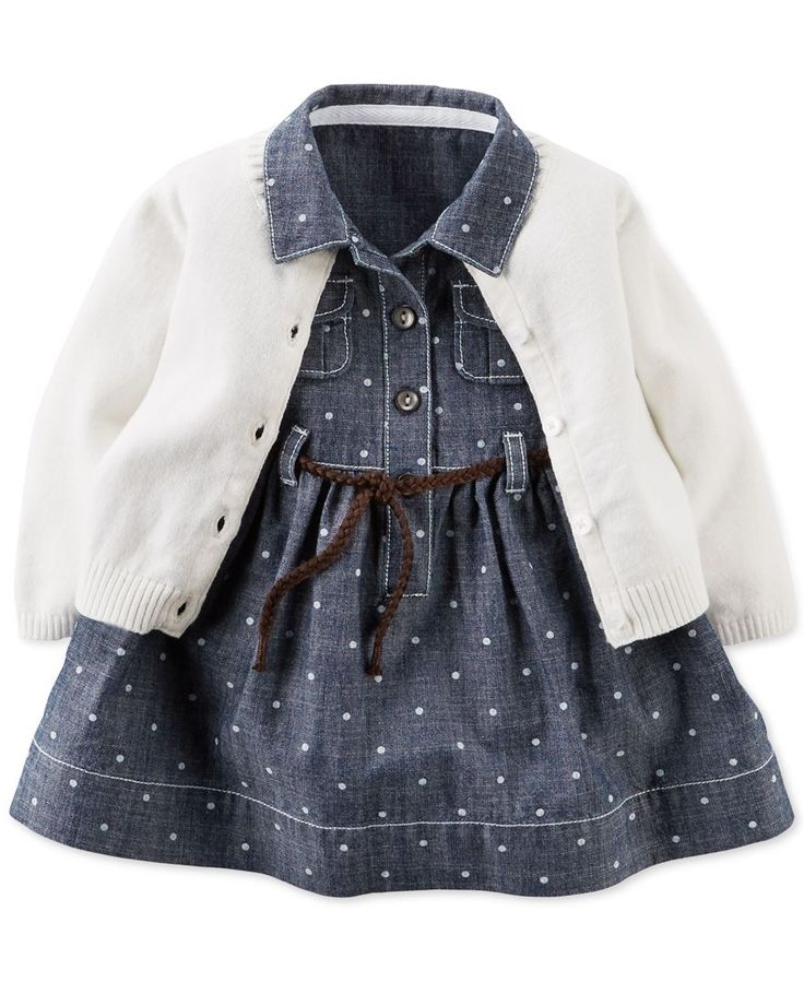 Carter's Baby Girls' Chambray Dot Dress & Cardigan Set