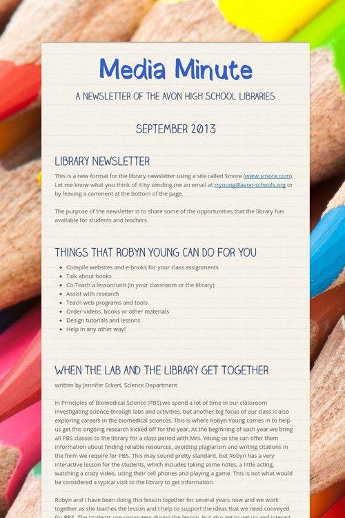 Media Minute - Newsletter of the Avon High School Library - Avon, Indiana - September 2013