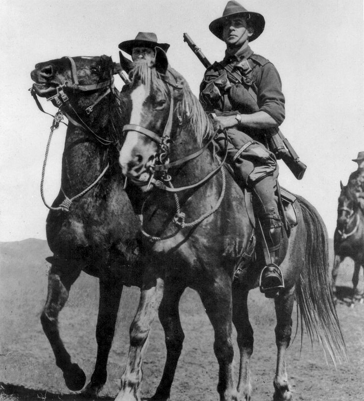 Australian troopers of the Imperial Light Horse trot just before the outbreak of WW1, 1914. Note the cross chest bandolier, typical of British cavalry units. Australians had justifiably the reputation of excellent horsemen.