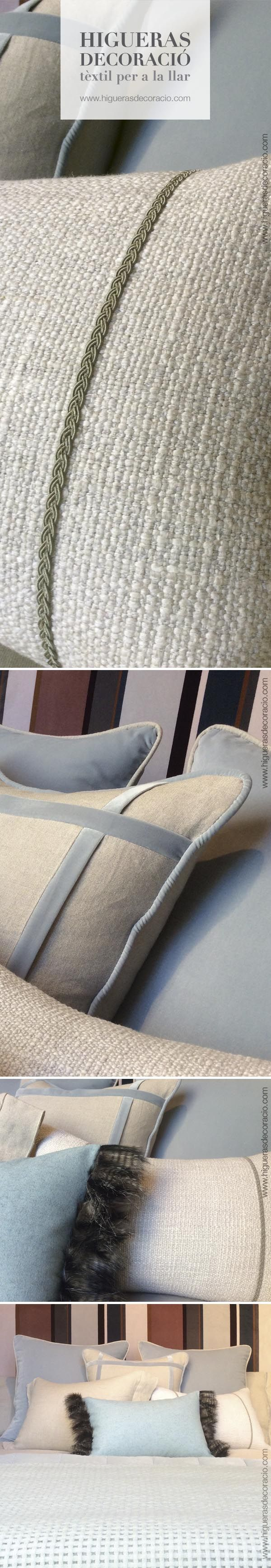 #Cabecero tapizado para la cama. #Cabecero aterciopelado. Juega con las telas de los cojines, #telas de diferentes brillos y texturas. #Cojín con pasamanería. #Plaid de #angora a tono para los pies de la cama. #Capçal entapissat. #Capçal de vellut. Juga amb les teles dels coixins, #teles de diferents brillantors i textures. #Coixí amb passamanaria. #Plaid d'#angora a to pels peus del llit.  http://www.higuerasdecoracio.com/es