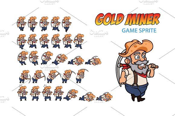 Gold Miner Game Sprite by Gagu on @creativemarket