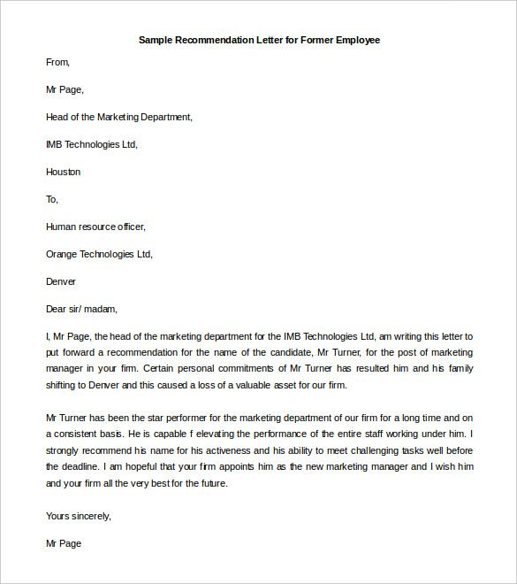 5 Recommendation Letter Templates Letter Of Recommendation