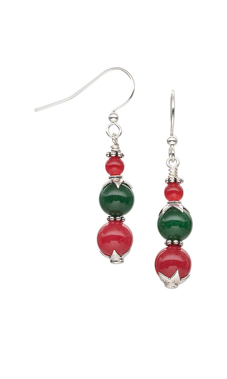Jewelry Design - Earrings with Malaysia ''Jade'' Gemstone Beads and Sterling Silver Beads and Bead Caps - Fire Mountain Gems and Beads