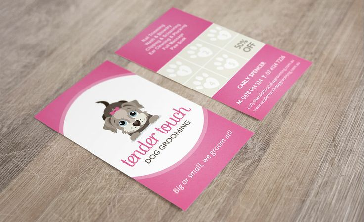 Tender Touch Dog Grooming business card design by ITALIC