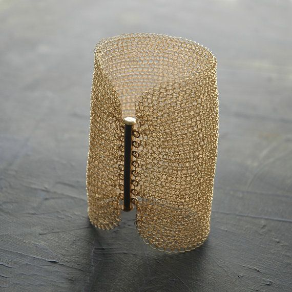 "cuff - wire crochet gold filled - 4 inch wide , wire knit - by Yael Falk, ""Yoola"" on Etsy"