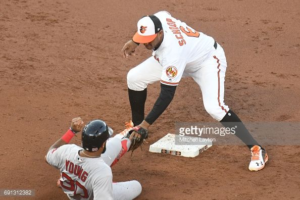 News Photo : Jonathan Schoop of the Baltimore Orioles tags out...