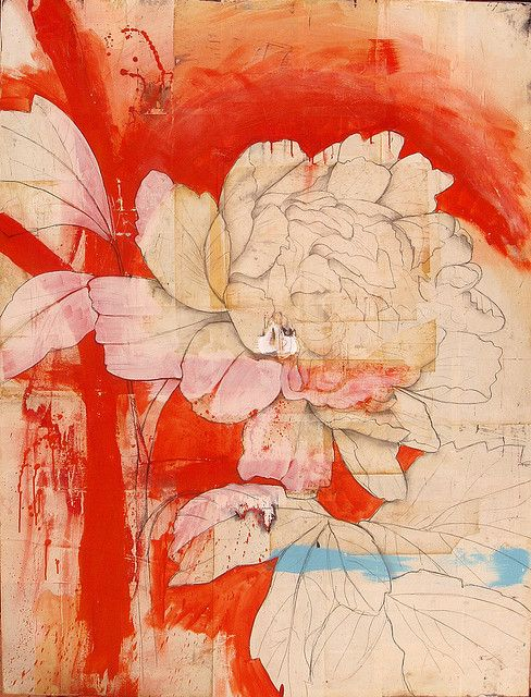 The author says : No masking in this piece. You can see where I used white (beige) paint to go back over the orange in some areas, then once the flower is drawn I go back in with the orange and paint in the negative space behind the flower