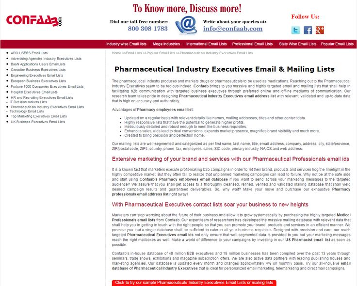 How to get the updated Pharmaceutical executives contact