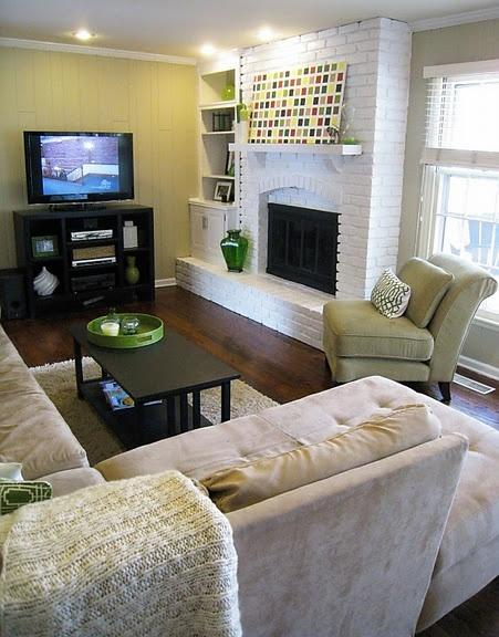 I like the shelving & cabinet idea next to painted fireplace