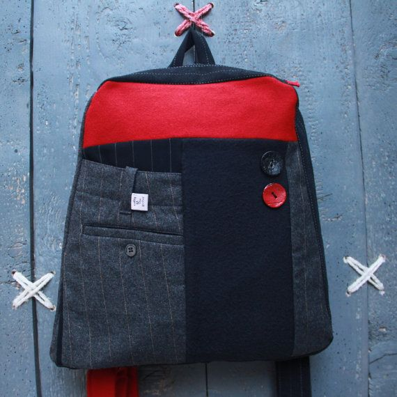 "Upcycled backpack from men's clothes by ""Eating The Goober"""