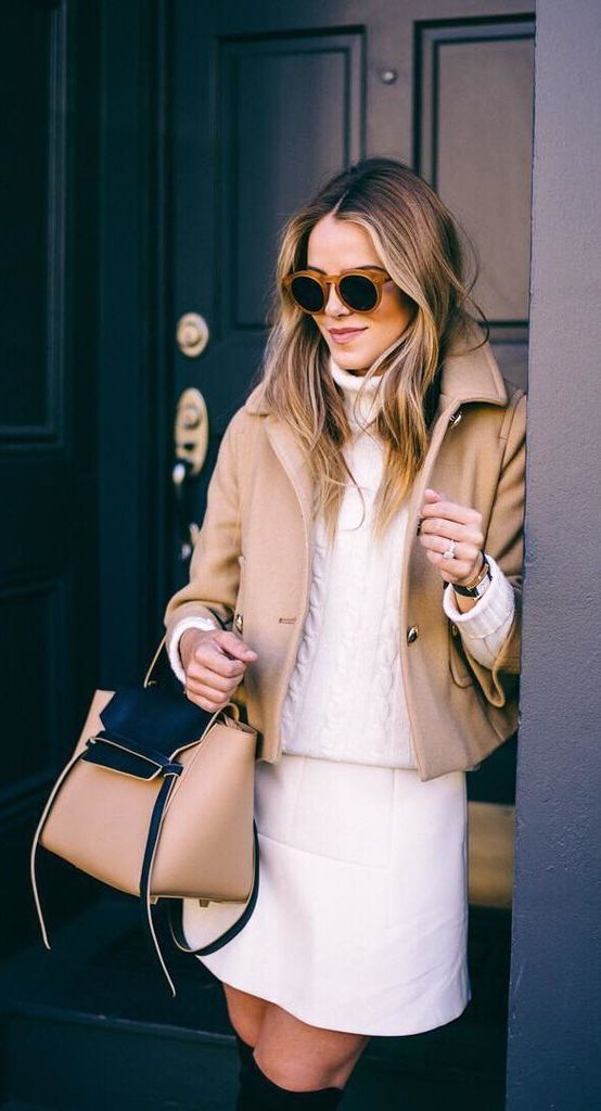 Camel Coat Worn Over a White Sweater With Over-the-Knee Boots